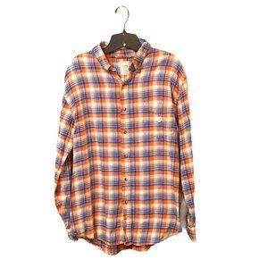 Chaps Flannel Plaid Long Sleeve Button Up Top L